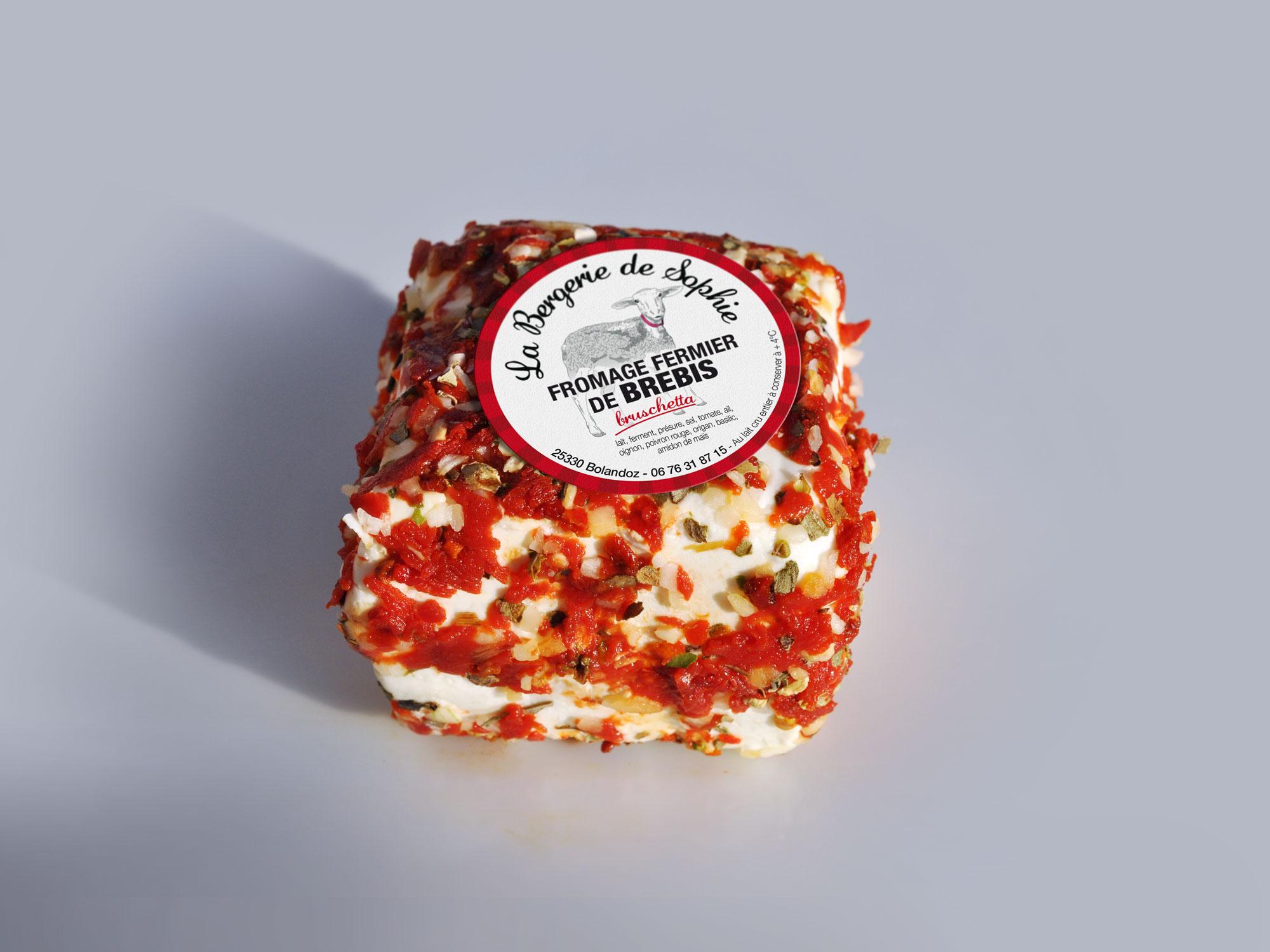 étiquette fromage de brebis saveur bruschetta