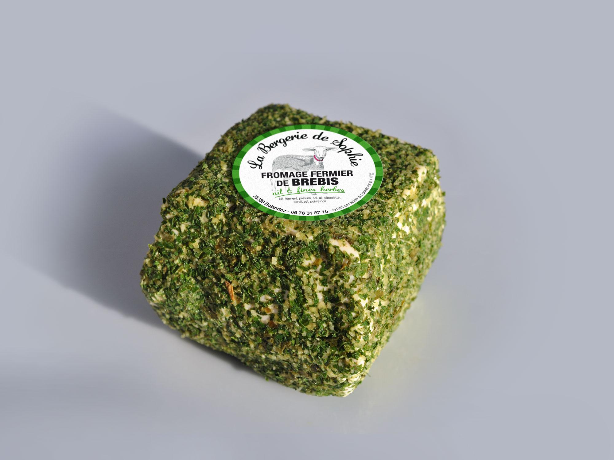 étiquette fromage de brebis saveur ail et fines herbes