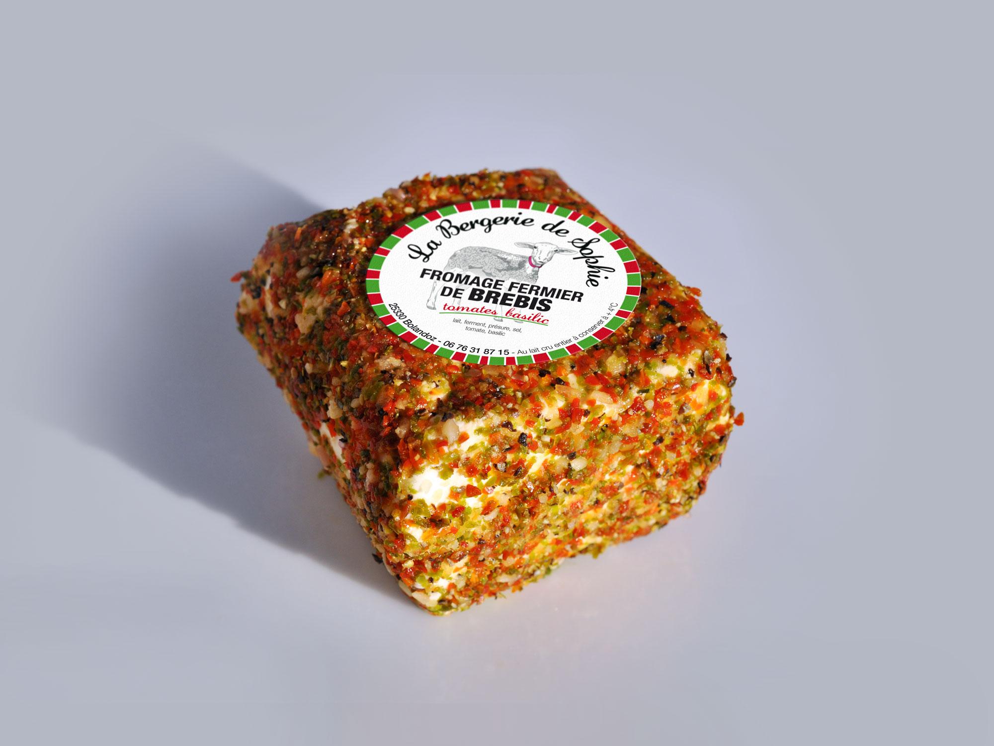 étiquette fromage de brebis saveur tomates basilic