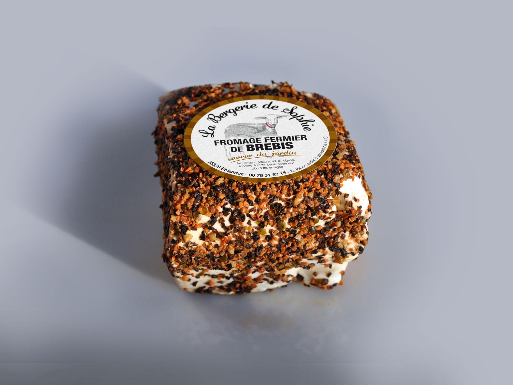 étiquette fromage de brebis saveur du jardin