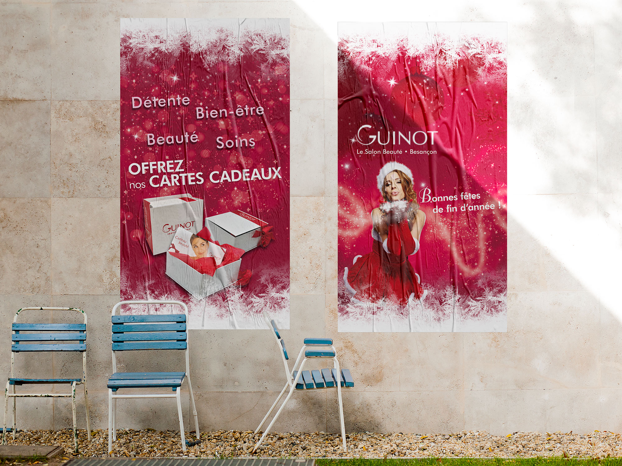 affiche vitrine Guinot pour Noël
